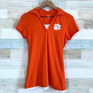 Clemson Tigers Polo Shirt Orange White V Neck